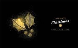 Christmas and new year gold glitter mistletoe card Stock Photography