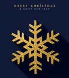 Christmas and new year gold glitter snowflake card Royalty Free Stock Photos