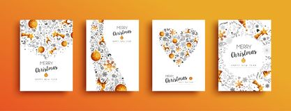 Christmas and New Year gold greeting card set. Merry Christmas greeting card collection with happy new year holiday message and gold luxury xmas ornament vector illustration