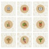 Christmas and new year gold icons and seamless patterns. Vector set round stickers holiday backgrounds with gifts socks. Snowflakes cap for greeting card design vector illustration