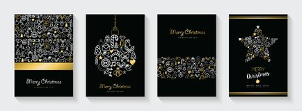 Christmas and new year gold line icon card set. Merry Christmas and New Year greeting card collection, holiday illustrations with gold outline icon decoration royalty free illustration