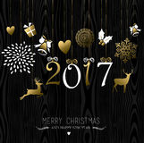 Christmas and new year gold ornament decoration Stock Image