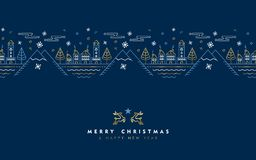 Christmas and New Year gold outline greeting card. Merry Christmas Happy New Year gold greeting card in outline style, festive city illustration with golden royalty free illustration