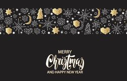 Christmas and New Year gold seamless pattern on black background with stars, balls, noel, heart in geometric style. Royalty Free Stock Photography