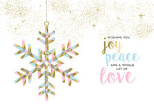 Christmas and new year gold snow decoration design Royalty Free Stock Photos