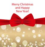 Christmas and New Year golden background with red bow. Vector. Illustration Royalty Free Stock Photos