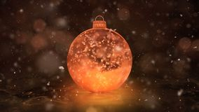 Christmas Golden Ice Glass Bauble Decoration snowflakes background loop
