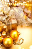 Christmas and New Year golden baubles and decorations Royalty Free Stock Images