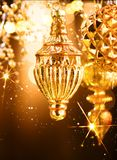 Christmas and New Year golden decorations. Abstract holiday background Royalty Free Stock Photos