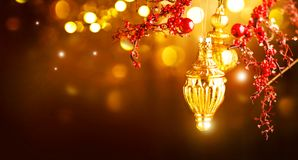 Christmas and New Year golden decorations. Blinking holiday background Stock Photo