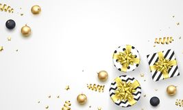 Christmas or New Year golden decorations, gifts in ribbon bow and gold confetti white background. Vector premium design template f Royalty Free Stock Photography