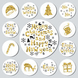 Christmas New Year golden gift round stickers. Labels xmas set. Hand drawn glitter decorative element. Collection of Royalty Free Stock Photography