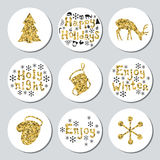 Christmas New Year golden gift round stickers. Labels xmas set. Hand drawn glitter decorative element. Collection of Stock Photography