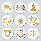 Christmas New Year golden gift round stickers. Labels xmas set. Hand drawn glitter decorative element. Collection of Stock Image