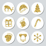 Christmas New Year golden gift round stickers. Labels xmas set. Hand drawn glitter decorative element. Collection of Stock Photos
