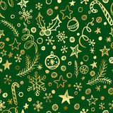 Christmas and New Year golden seamless pattern Stock Images