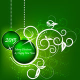 Christmas and New Year green background, flower pattern Royalty Free Stock Photography