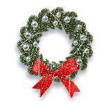 Christmas, New Year. Green spruce branch. Christmas wreath with shadow and snowflakes. Red onions, silver balls and. Beads on a white background. Vector Royalty Free Stock Photos