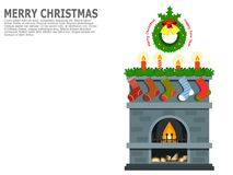 Christmas or New Year greeting art, card, poster or banner. Royalty Free Stock Images