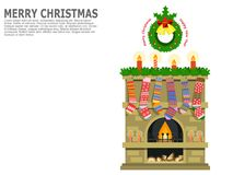 Christmas or New Year greeting art, card, poster or banner. Royalty Free Stock Image