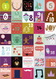 Christmas and New Year greeting calendar. Vintage Christmas and New Year greeting calendar for 2016 with cute winter elements, icons, typography, greeting and Stock Images