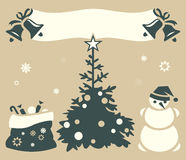 Christmas and New Year greeting card. With the fir tree, snowman and gift stock illustration