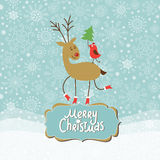 Christmas and New Year Greeting card. Cute Deer and little Bird Stock Image