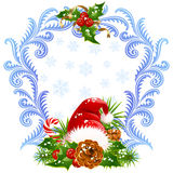 Christmas and New Year greeting card 4. Santa hat, stock illustration