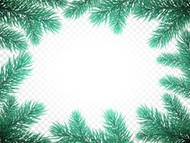 Christmas New Year greeting card background template fir tree branch frame. Christmas holiday greeting card background template of New Year fir or pine tree Royalty Free Stock Image