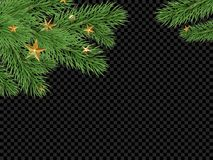 Christmas New Year greeting card background template fir tree branch frame. Christmas holiday greeting card background template of golden star and ball Royalty Free Stock Images