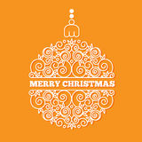 Christmas and New Year greeting card. Christmas ball of curls in a linear стиле.  Vector illustration Stock Images