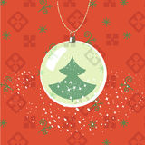 Christmas, New Year greeting card. Ball with new year tree. Inside. Traditional green and red colors royalty free illustration