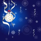Christmas and new year greeting card ball and snowflake on blue. Illustration background vector illustration
