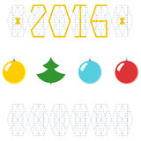 2016 Christmas, New Year greeting card. Balls with new year tree. Calendar cover design template stock illustration