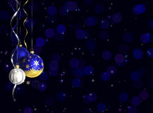 Christmas and new year greeting card with baubles and space for text Royalty Free Stock Photos
