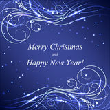 Christmas and New Year greeting card. With beautiful shiny pattern on dark background Royalty Free Stock Image