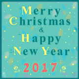Christmas and New Year greeting card. Blue and yellow artistic font with floral decor. Red numerals - 2017. Blue background with watercolor numerals. Vector Royalty Free Stock Images