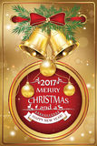 Christmas and New Year greeting card 2017. Business Greeting card for Christmas and New Year. Contains baubles, golden ribbon, pine branches, jingle bells. Print Royalty Free Stock Photography