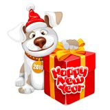 New Year greeting. Christmas and New Year greeting card with cheerful dog with big gift isolated on white background. Dog - symbol of year 2018. Vector Stock Photo