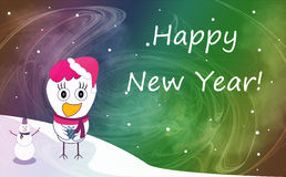 Christmas and New Year greeting card with cheerful rooster in Sa. Nta hat on snowy winter landscape. Rooster - symbol of year 2017 Stock Photo
