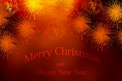 Christmas and new year greeting card. With fire works Stock Images