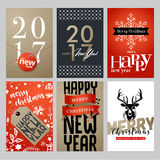 Christmas and New Year greeting card collection. Stock Images