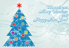 Christmas and New Year greeting card with congratu Royalty Free Stock Photo