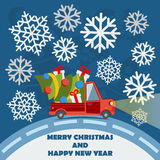 Christmas and New Year greeting card with delivery van Royalty Free Stock Photos