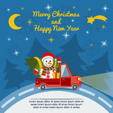 Christmas and New Year greeting card with delivery van. Vector. Royalty Free Stock Photos