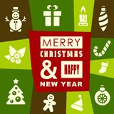 Christmas and New Year greeting card design Stock Photos