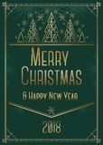 Christmas and New Year greeting card design in art deco style with stylized trees. Stock Images