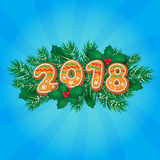 2018 Christmas, New Year greeting card design Stock Photos