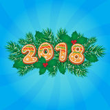 2018 Christmas, New Year greeting card design Royalty Free Stock Images