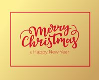 Christmas and New Year greeting card design with red frame and hand lettering. Typographical festive postcard for winter holidays. With golden foil background stock illustration